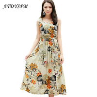 2017 Women S Summer Elegant Beach Dress Sexy Bohemian Floral Print Long Dress Sleeveless Party Casual