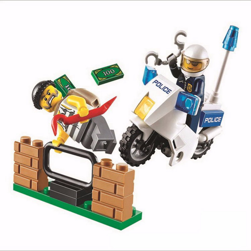 37Pcs BELA 10416 City Police Motorcycle Pursuit Prisoners Figure Blocks Compatible Legoe Building Bricks Toys For Children