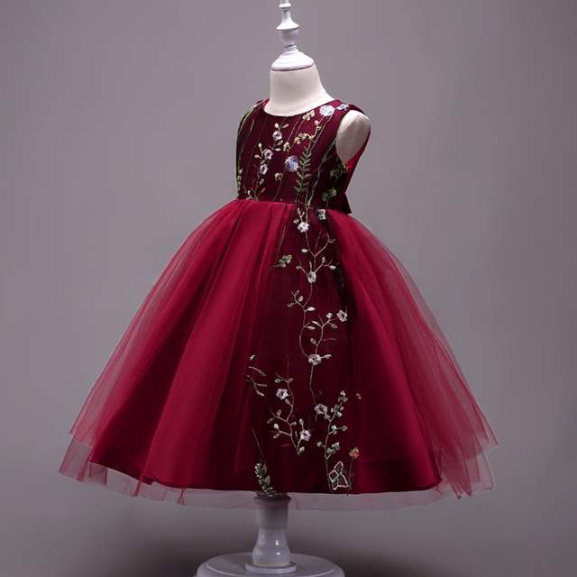 9f7841711 Burgundy Embroidery Flower Girls Dresses Tulle Ball Gowns Colorful Floral  Lace Jewel vestido longo Kids Party Gowns ZF020-in Flower Girl Dresses from  ...