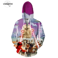 Kitten Laser Cats 3D Printed Zip Up Hoodie Lightning Beach Graphic Space Galaxy Hooded Men Women