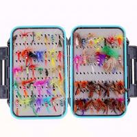 64pcs Fly Fishing Lure Set Simulation Butterfly Flies Hook Trout Fishing Bait Kit with Double sided Waterproof Tackle Box