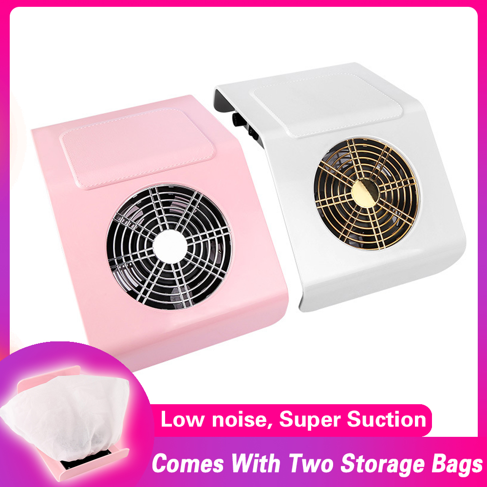 40W Vacuum Cleaner For Nail Art With 2 Fans UV Gel Varnish Dust Collector Nail Dust Vacuum Cleaner Manicure Machine