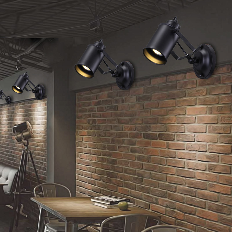 Retro Adjustable Industrial Metal E27 Wall Lamp Retro Country Style Children's Wall Lamp Attic Interior Bar Cafe Home Corridor