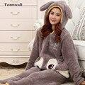 Caráter De Pelúcia Pullover Inverno Quente Espessamento Flanela Pijamas das mulheres Pijamas Com Capuz Sleepwear Mulheres Salão Conjunto de Pijama