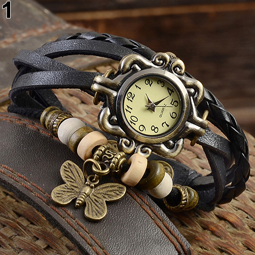 Women's Casual Vintage Multilayer Butterfly Faux Leather Bracelet Wrist Watch