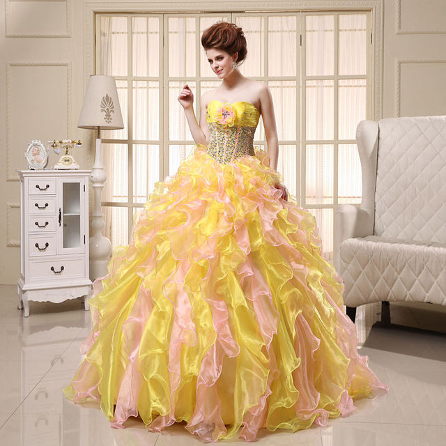 e69bc15a7e1 Cinderella Ball Gown Quinceanera Dresses Yellow Pink Sweet 16 Dresses  Organza Party Dresses Beading Bodice Pageant Prom Dresses