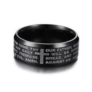 Image 3 - Cruz con oración del Señor de la Biblia cristiana, anillo en inglés, Color negro, dorado y plateado