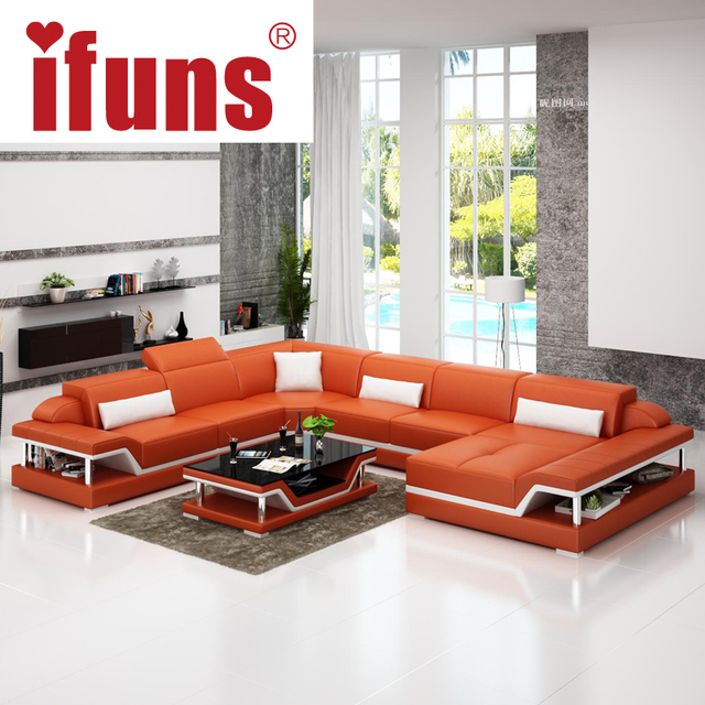 Ifuns U Shaped Black Genuine Leather Modern Sectional Sofa Top Grain Luxury Sets Living Room