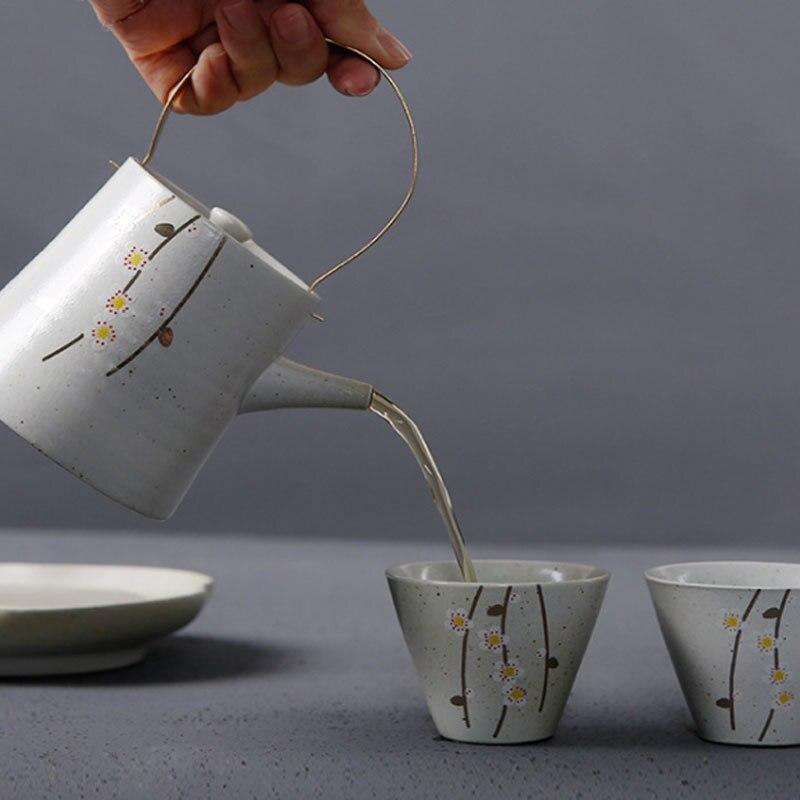 Fleurs de cerisier japonais kungfu thé cérémonie ensemble fait à la main poterie brute théière un pot deux tasses palette cadeau boîte teaware - 2