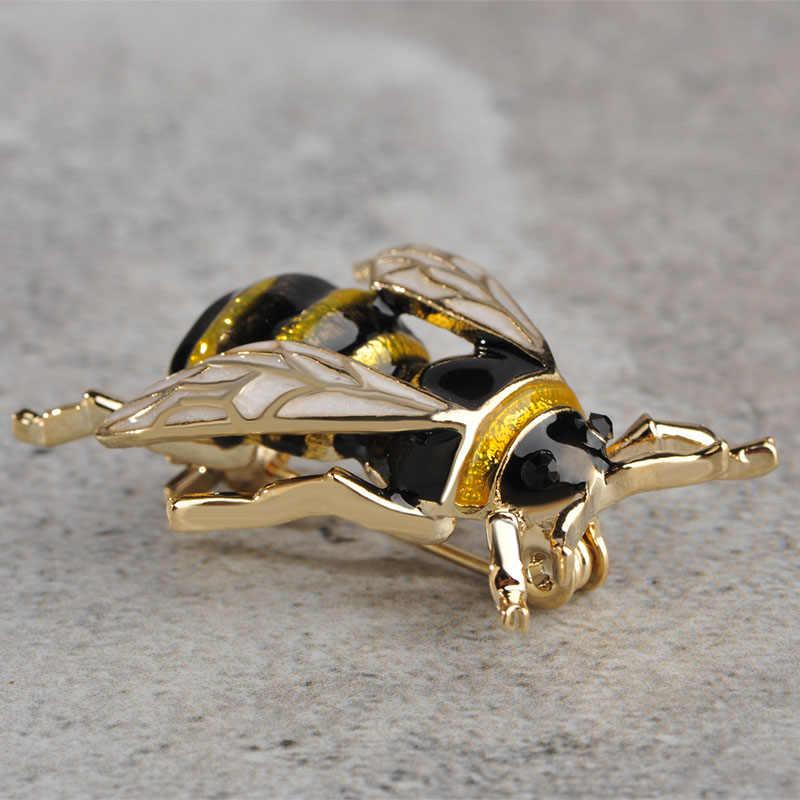 Blucome Lucu Serangga Terbang Lebah Bros Anak-anak Gadis Pakaian Aksesoris Emas Warna Hitam Kuning Enamel Bros Ulang Tahun Hadiah Perhiasan
