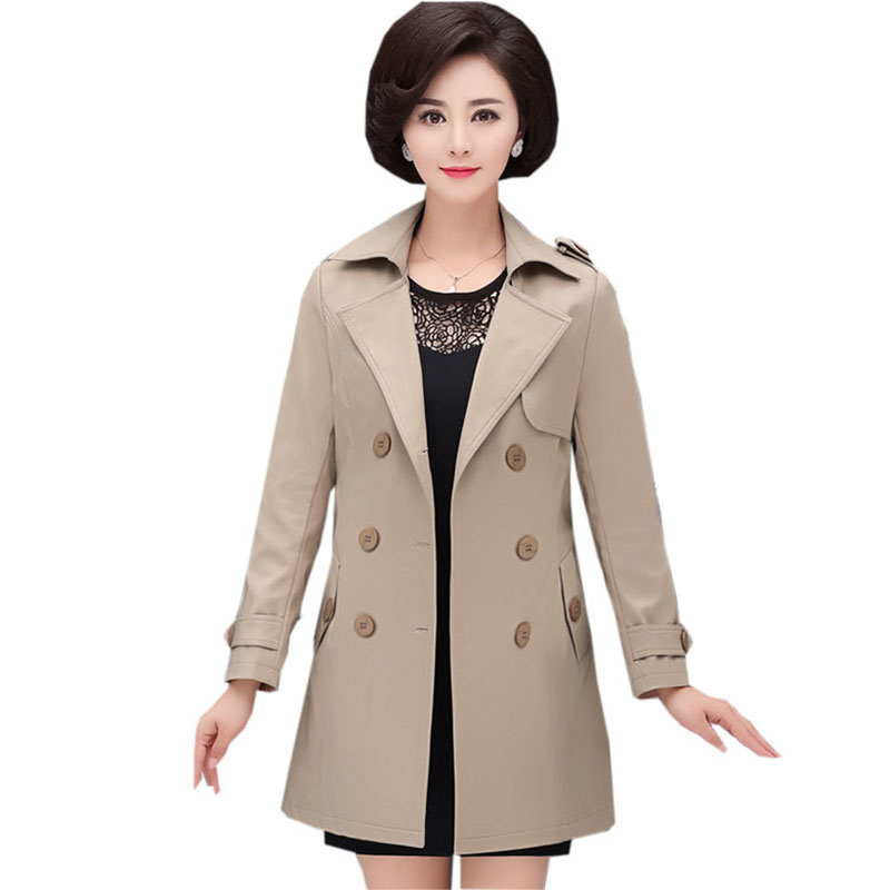 Autumn Mother   Trench   Coats 2018 New Winter Casual Double Breasted Sashes   Trench   Outwear Female Elegant Windbreak FP1545