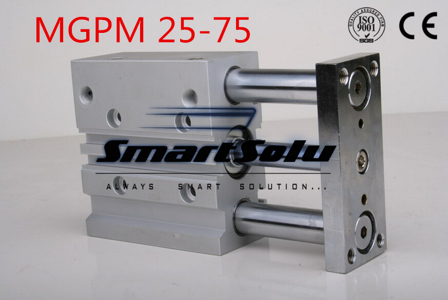 ФОТО Free Shipping MGPM 25-75 High quality double action guide cylinder compact pneumatic actuator slide bearing  type three rod