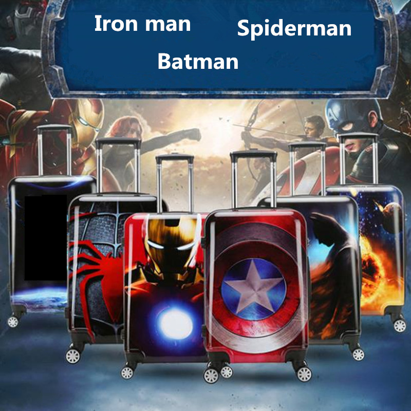 ZYJ Kids Iron Man Captain America Travel Rolling Luggage Cartoon Spiderman Batman Spiderman Suitcase Airplane Trolley Luggage
