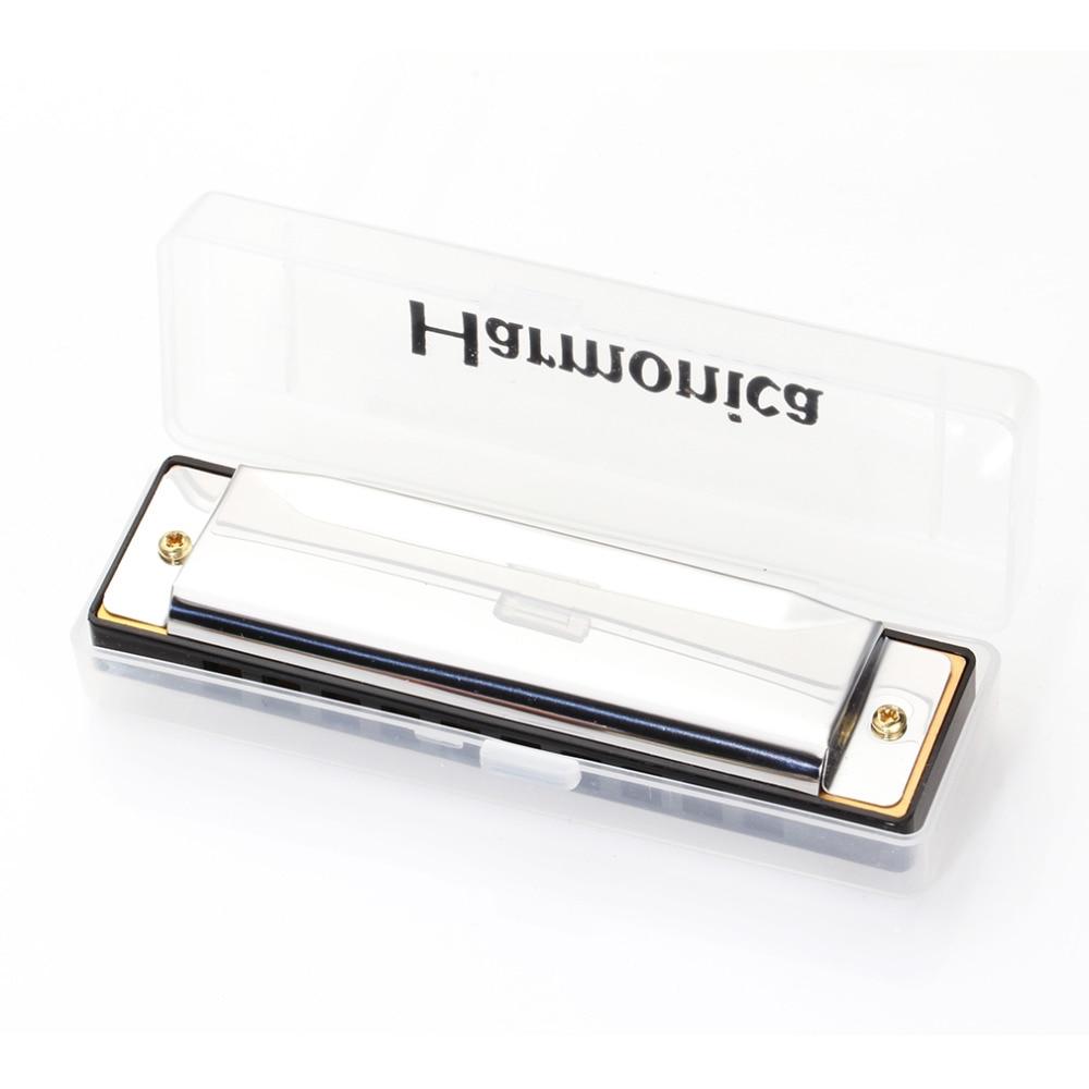 KONGSHENG 1pc Silver Swan Harmonica 10 Hole Key Of C Mouth Organ For Blues Rock Jazz Folk Harmonicas With Packaging Box