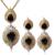 Jewerly los Sistemas Nupciales de lujo plateó Cubic Zirconia Mujeres Negro Gota Colgante de Collar y Pendientes de la Joyería de La Boda Establece
