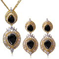 Luxury Bridal Jewerly Sets Gold plated Cubic Zirconia Women Black Drop Pendant Necklace & Earrings Wedding Jewelry Sets