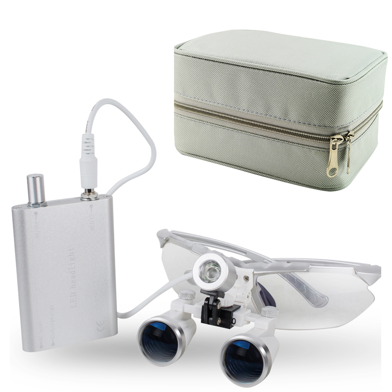 Dental Surgical Medical Binocular Loupes 3.5X 320mm Optical Glass Loupe + Dentist LED Head Light Lamp + Siver Carry Case 5 Color spark 2 5x magnification dentist surgical medical binocular dental loupes with comfortable headband and mounted led head light