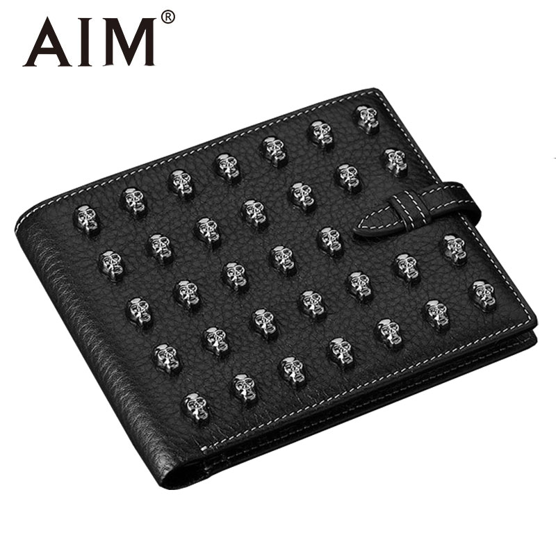 цена на AIM Vintage Genuine Cowhide Leather Wallet for Men Black Steampunk Skull Wallets Short Men Dollor Price Coin Purse High Quality