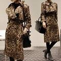 2016 Primavera Coreano Estrela Da Moda Marca Leopard Print Trench Coat Longo Trech Casaco Feminino Primavera Revestimento Das Mulheres de Impressão