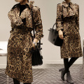 2016 Spring Korean Fashion Star Brand Leopard Print Trench Coat  Long Trech Coat Female Women Coat Spring Print