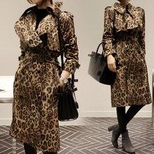 2016 Spring Korean Style Star Model Leopard Print Trench Coat Lengthy Trech Coat Feminine Girls Coat Spring Print