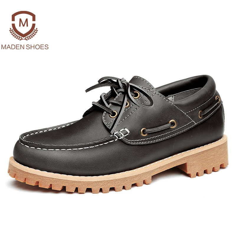 Maden 2018 Spring Handmade Men Leather Casual Shoes High Quality Sneakers Retro Vintage Boat Shoes Cow Leather Breathable Flats relikey brand men casual handmade shoes cow suede male oxfords spring high quality genuine leather flats classics dress shoes