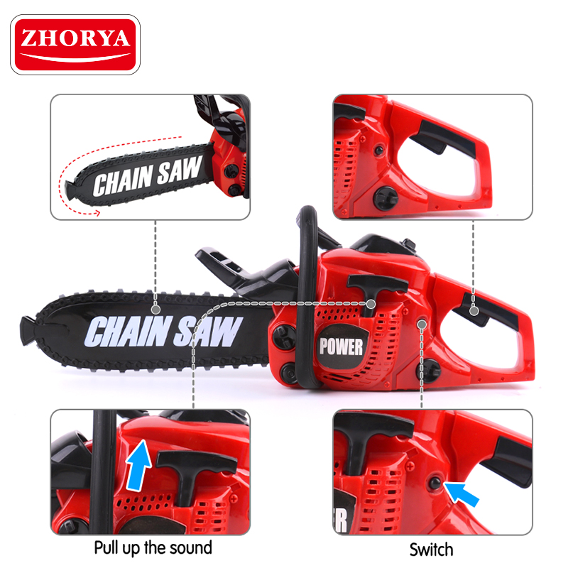 Zhorya Pretend Play Tool Toys Rotating Chainsaw With Sound Simulation Repair Tool House Play Toys For Boys Children Kids