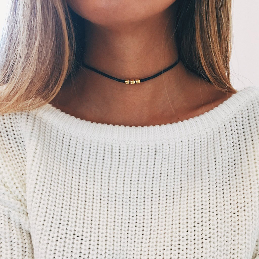 Simple Gold Beads Black Choker Necklace For Women Chocker Necklaces Charms collar collier femme colar collane kolye bijoux