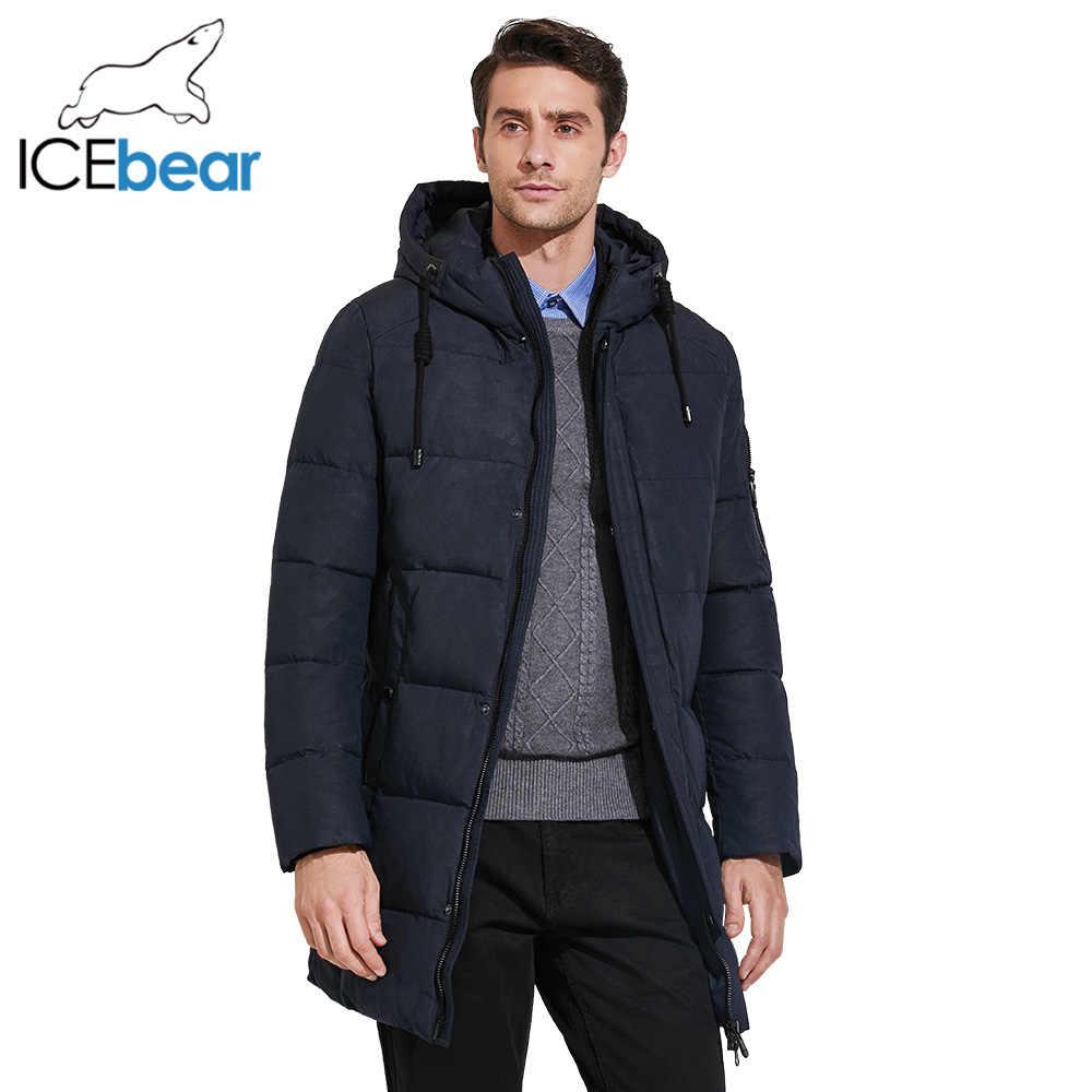 ICEbear 2017 メンズ冬のパーカー中長期平滑な金属ジッパースタンド襟シンプルなハンサムな冬のジャケットの男性 17MD933D