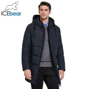 Image 3 - ICEbear 2019 Mens חורף מעיילי אמצע ארוך חלק מתכת רוכסן צווארון עומד פשוט נאה חורף מעיל גברים 17MD933D