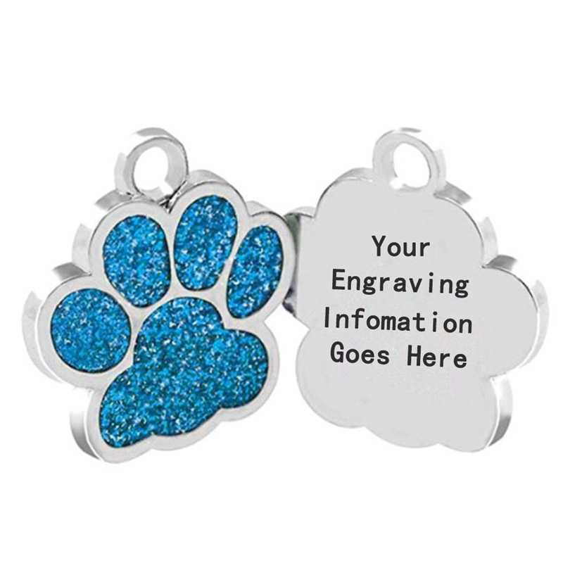 Drop shipping Paw Shape Dog ID Tag Engraved Dog ID Name Tags Pet Collar Pendant Free Engrave Name and Phone Number