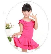 Hot sell 2 pcs 100-160cm rumba latin dance dress tango samba blue pink black competition professional girl child dress costume