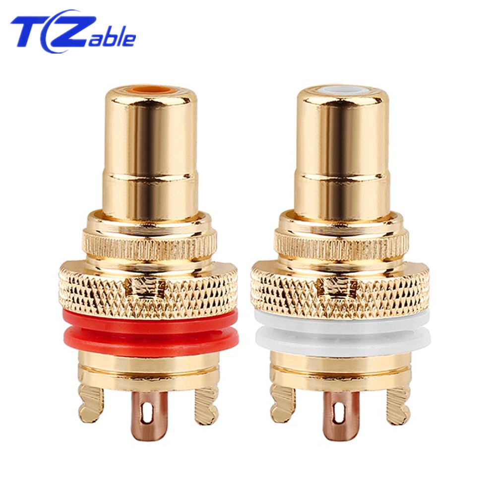 HiFi Plug Connector RCA Audio Connector Female Socket Chassis For CMC Connectors Rhodium Plated Copper Jack Copper Plug