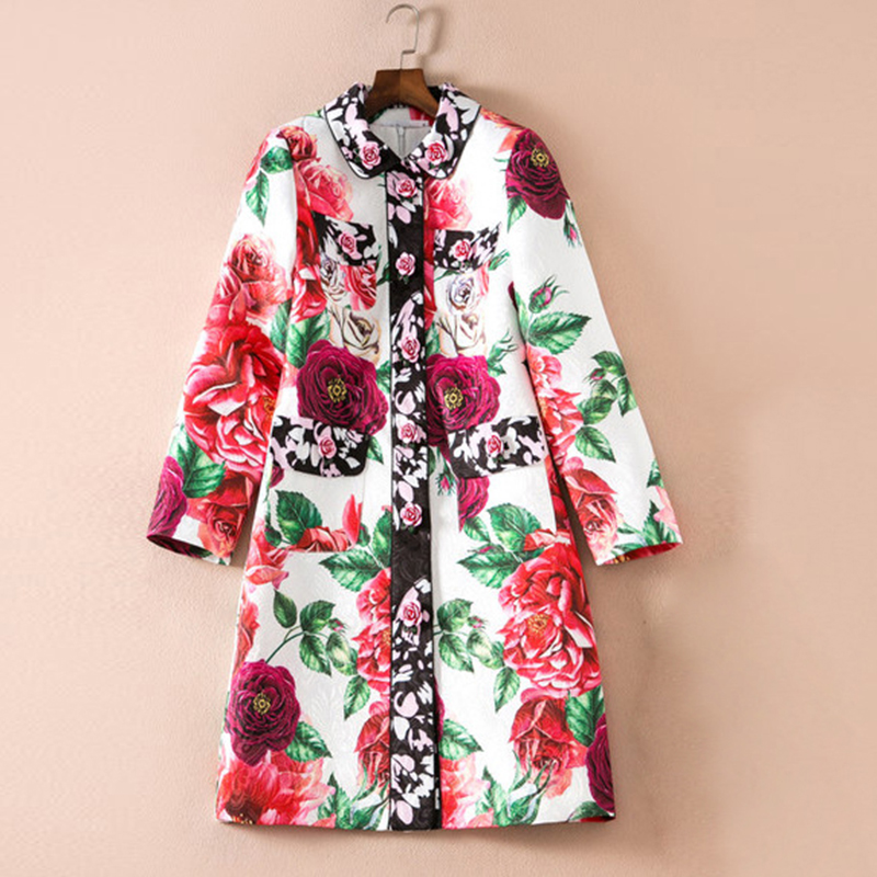 HIGH QUALITY Newest 2018 Designer   Trench   Women's Gorgeous Rose Buttons Floral Print   Trench   Coat