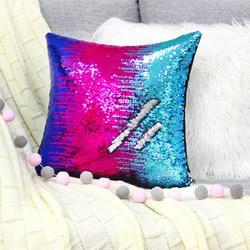 Icosy Home Textil bricolage sirène Sequin housse de coussin magique rose jeter taie d'oreiller 40 cm X 40 cm couleur changeante taie d'oreiller réversible