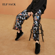 ELF SACK Bohemian Full Length Print Mid Waist Women Wide Leg Pants Loose Cute