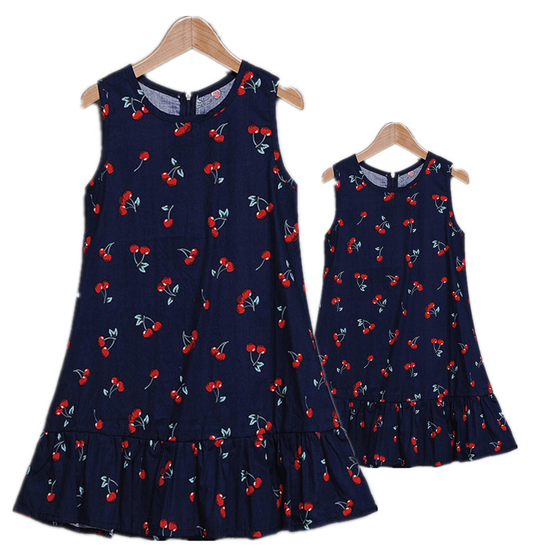 Summer Mother Daughter Family Dresses Brand Printing Cotton Family Look Fashion Matching Outfits Vest Mother Daughter Clothes