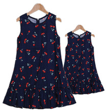 Summer Mother Daughter Family Dresses Brand Printing Cotton Look Fashion Matching Outfits Vest Clothes