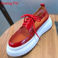Krazing Pot hot saling new genuine leather air mesh lace up round toe platform sunscreen red sneaker female vulcanized shoes L51