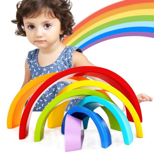Liplasting 7 colors building blocks For Kid wooden