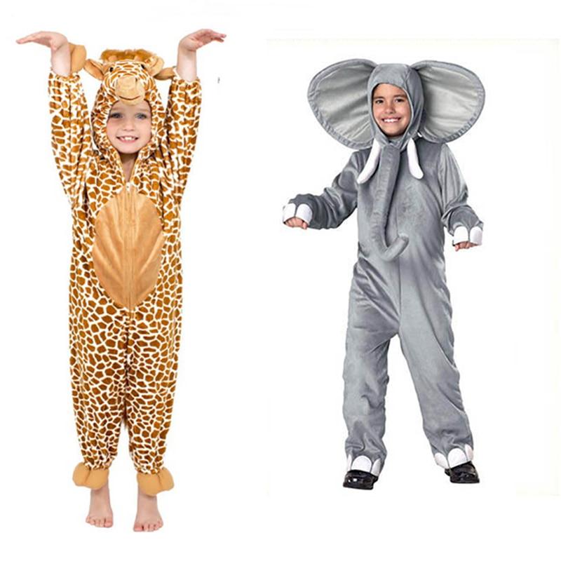 Children's Pajamas Cartoon New Jumpsuit Elephant Giraffe Animal Play Suit Long-sleeved Hoodie Warm Cute Funny One-piece Pajamas