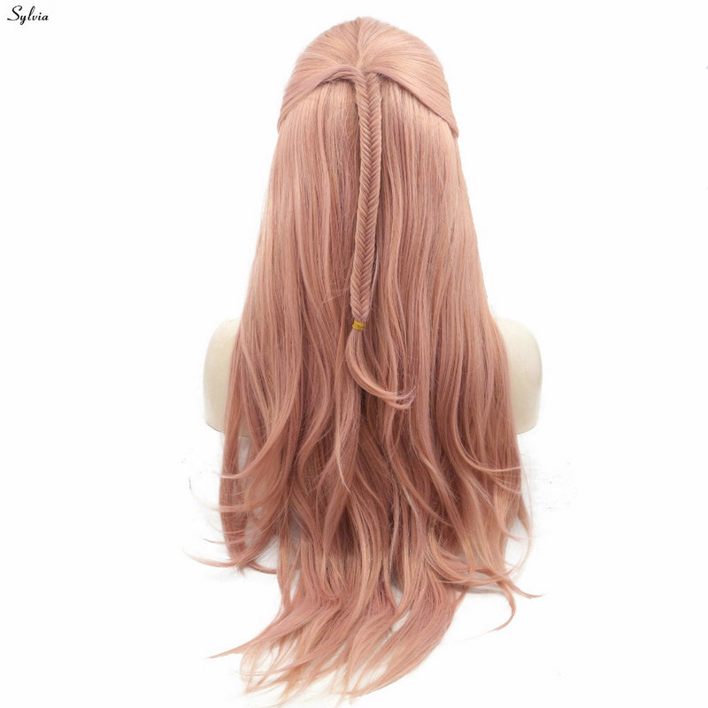 Sylvia Pink Fishtail Braided Long Handmade Natural Hairline Rose Gold Synthetic Lace Front Wigs
