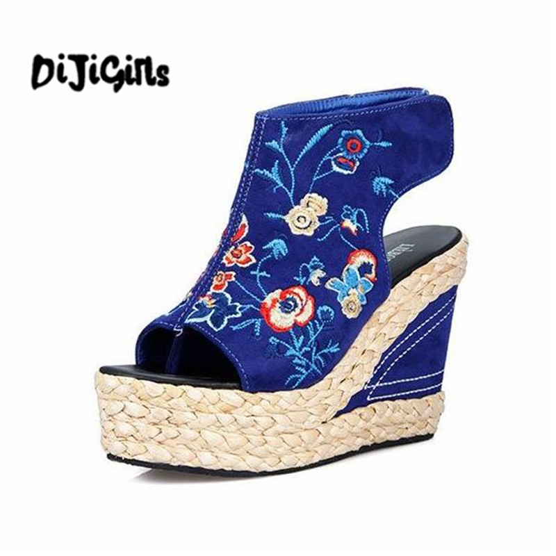 2017 Summer new folk style embroidery women sandals thick crust  high-heeled Fish mouth  wedges platfrom girl summer shoes fish mouth gladiator sandals women platform wedges shoes 2017 summer beaches ladies shoes korean style creepers women s sandles
