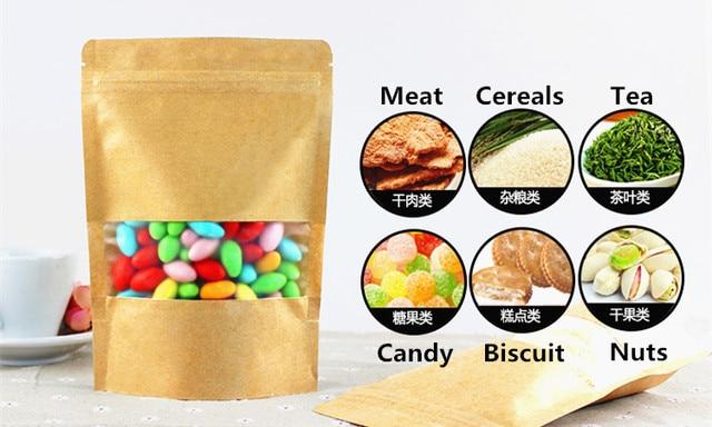 50pcs 23x33+5cm 280micron Large Paper Matt Window Zip Bag Spice/Powder/Dry Food/Cereals Packaging Bag