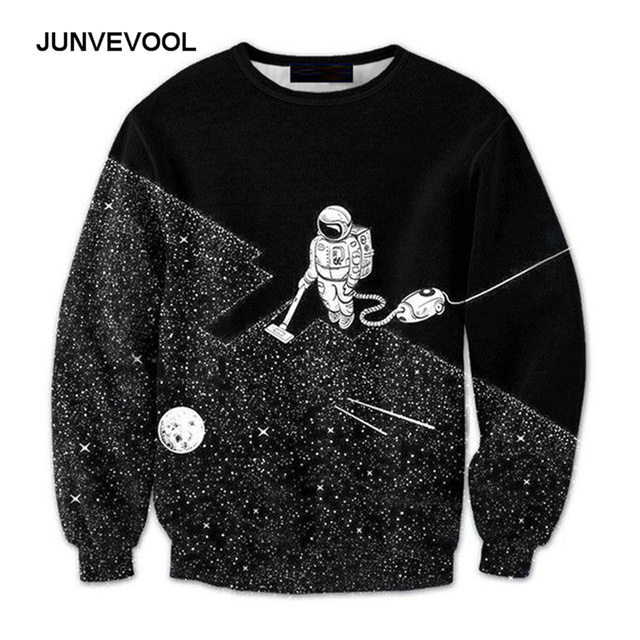08e7d8255131 Hoodie Men Long Sleeve Outerwear Hoodie Galaxy Funny Printed Sweatshirts  Robot Clean Dust Pullover 3D Men s