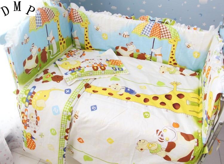 Promotion! 7pcs crib bedding set 100% cotton baby bedding piece set unpick and wash (bumper+duvet+matress+pillow)