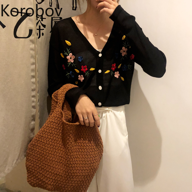 Korobov Korean Thin Summer Cardigans Vintage Flower Embroidery V Neck Sueter Mujer Single Breasted Long Sleeve Sweaters 78429