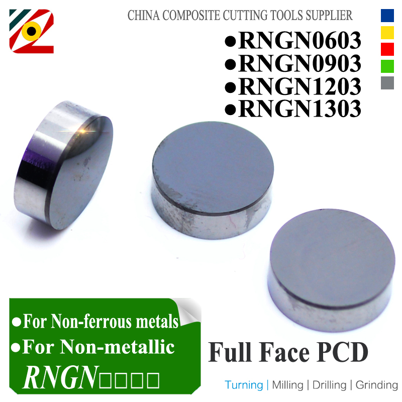 EDGEV 10 Pieces Full Face On One Side PCD Top Inserts RNGN0603 RNGN0903 RNGN1203 RNGN1303 Diamond Round Turning Tools full face pcd inserts rngn0904