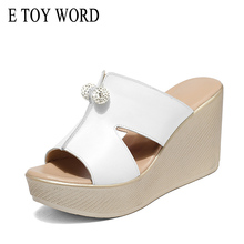 E TOY WORD Women Slippers Summer leather shoes High Heels Wedges Platform Sandals Fashion Female Size 41 42 43