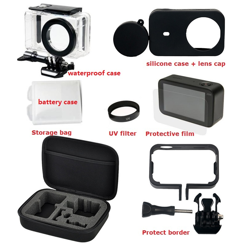 Kit Bag For Xiaomi Mijia 4K Mini Camera Waterproof Housing Battery Case Frame Cover Silicone Shell Lens Cap UV Filter Glass Film